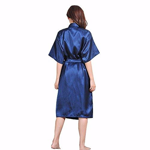 DELEY Unisexe Couple Femmes Doux Chaud Kimono Satin Soie Peignoir Vêtements De Nuit Robe de Chambre Déshabillé Pyjama Bleu