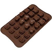ounona 24Cavidad Candy moldes, moldes Chocolate, moldes de silicona, moldes hielo, moldes para hornear de silicona, moldes de jabón, forma de corazón, diseño de flores, Set de regalo