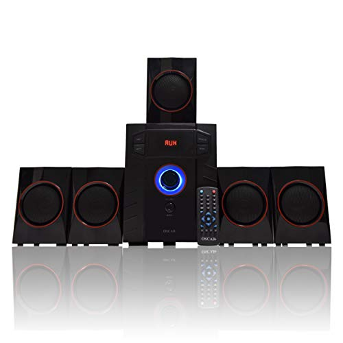 "OSCAR 5141BT 5.1 Channel, 4"" SW, Digital Bluetooth Home Theater Speaker System, Compatible with PC, TV, Card Reader (Black_Red)"