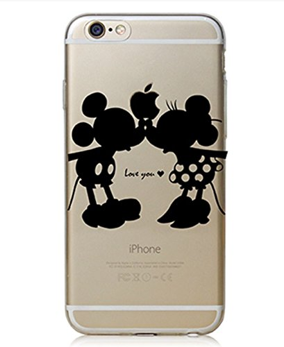 Disney Aquarell Hülle für iPhone 7 Transparent (Love You, Weiche TPU Silikon)