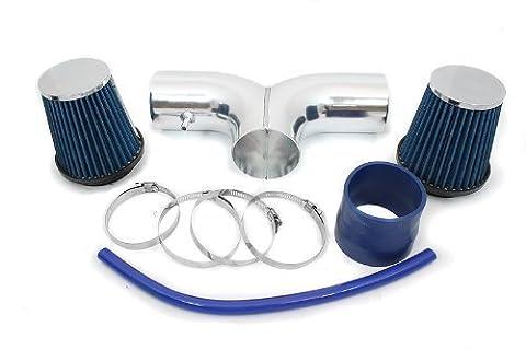 00 01 02 Dodge Dakota 3.7L & 4.7L Dual Short Ram Intake Blue (Included Air Filter) #SR-DG-4B by High performance parts