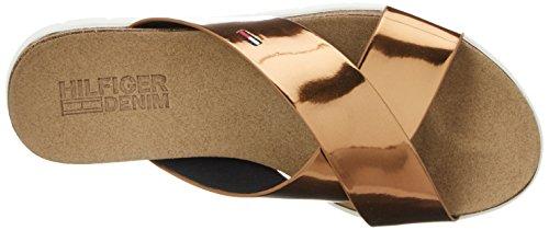 Tommy Hilfiger Damen S1385lide Sandal 2z Offene Keilabsatz Gold (Bronze 045)