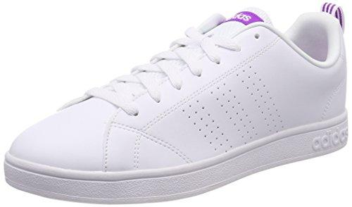 adidas Vs Advantage Cl W, Scarpe da Ginnastica Basse Donna, Bianco Footwear White/Shock Purple, 36 2/3 EU