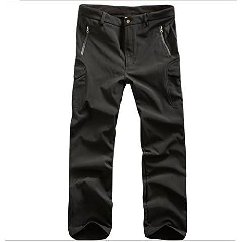 Lorata Pantalones de Soft Shell para Hombres Impermeable A Prueba de Viento con Fleece para Ciclismo Motociclismo Senderismo Deporte al Aire Libre Negro XL
