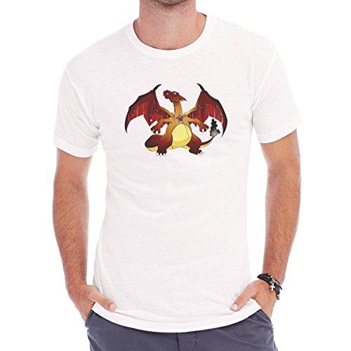 Pokemon Charizard Dragon Fire Flying Dark Herren T-Shirt Weiß