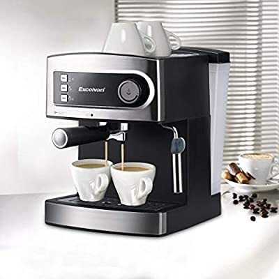 Excelvan 15 Bar Pump Espresso Coffee Maker, Italian Style Coffee Machine with Steam Wand, Measuring Spoon for Hot Drinks, Cappuccino & Home - Coffee Maker 850W from Excelvan