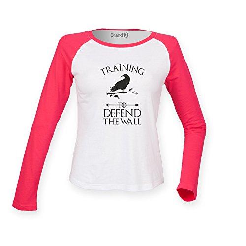 Brand88 - Training To Defend The Wall, Damen Langarm Baseball T-Shirt Weiss  &