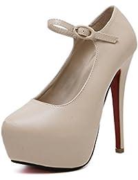 mzg alta de tacón para mujer Open Toe tobillo Correa Plataforma Casual Punch Bomba Sandalias, albaricoque, 38