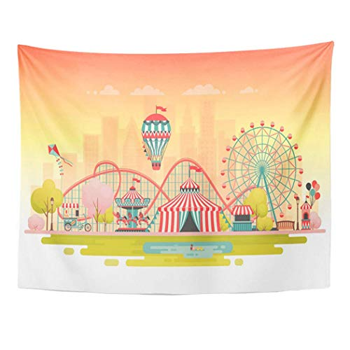 AOCCK Wandteppiche, Tapestry Wall Hanging Amusement Park Urban Landscape Carousels Roller Coaster and Air 60