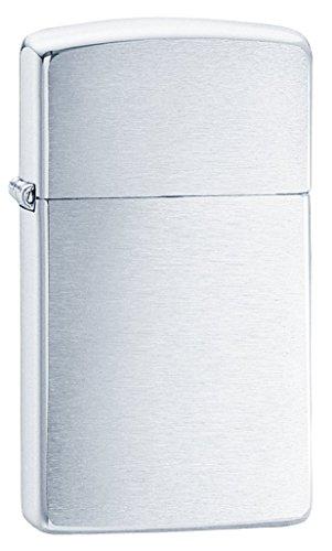 Zippo Brush Chrome Slim Mechero, Metal, Brushed, 3.5x1x5.5 cm