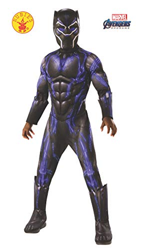 Kostüm Black Kinder Panther - Rubie's Offizielles Avengers Black Panther Kampfanzug, Deluxe Kinderkostüm, Größe L, Alter 8-10, Höhe 147 cm