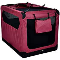 AmazonBasics Premium Folding Portable Soft Pet Dog Crate Carrier Kennel - 42 x 31 x 31 Inches, Red