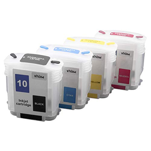 Photo Magenta Ink Tank (vhbw Refill Druckerpatrone Tintenpatrone Leer Set passend für HP DesignJet 510, 800, 800 PS, 815MPF, 820MPF Drucker, CISS, B/C/M/Y mit Chip)