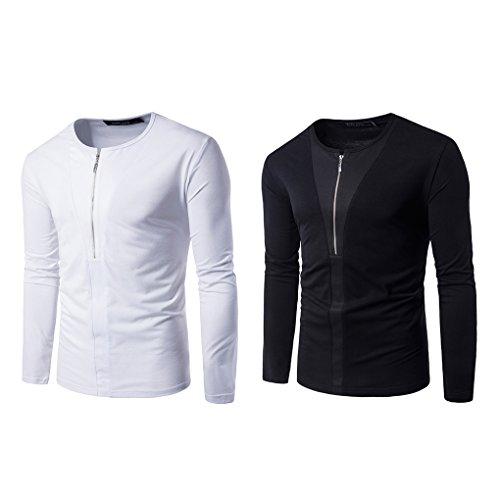 Babysbreath Hommes Pullover Personnalisé à moitié zippée Collier Rond à Manches Longues Slim Fit Soild Color Casual Tops Chemises