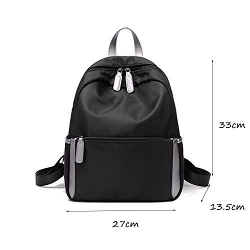 CLOTHES-_ Borsa coreana del sacchetto di spalla del sacchetto di spalla di viaggio di svago e di scuola elementare degli uomini della scuola materna e femminile di Ultra-Light impermeabile dello zaino Nero
