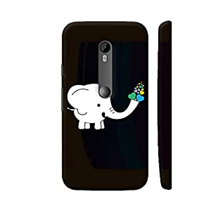 Colorpur White Elephant With Colorful Hearts Printed Mobile Back Cover For Motorola Moto G Turbo Edition (Matte Black)