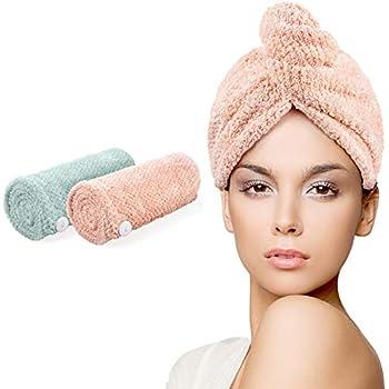 l/éger 2pcs Couleur al/éatoire yiqi Serviette absorbante et Coton en Microfibre Cheveux Serviette de s/échage Wrap Super Absorbant Twist Turban Rapide Cheveux Secs caches avec Boutons