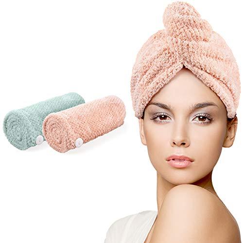 HWeggo Turban Handtuch, Haartrockentuch mit Knopf, Mikrofaser Haarturban, Schnell Trocknend Verdickt Wrap Turban 2er Set (Grün & Rosa),Für Alle Haartypen