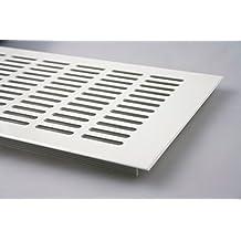 Rejilla de ventilación de aluminio con recubrimiento de polvo, 150 x 400 mm, color blanco