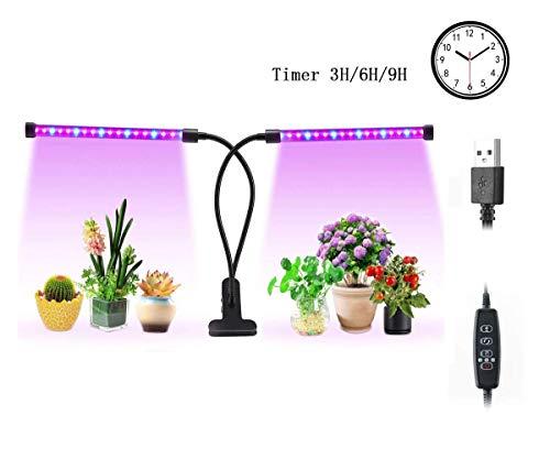 Pflanzenlampe mit Garten Werkzeug Sätzen 7pcs, Lightswim 46 LED wachsender Lampe 18W 3/9 / 12H Timer, Spektrum-Schaltung, justierbarer Gooseneck für Innengarten -