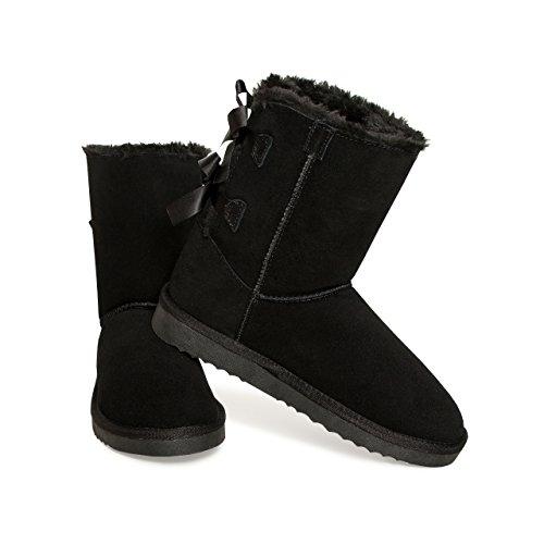 SKUTARI Wildleder Damen Frauen Winter-Boots | Warm Gefüttert | Schlupf-Stiefel mit Stabiler Sohle | Schleife Pailletten Glitzer Meliert Schuhe Schwarz 1