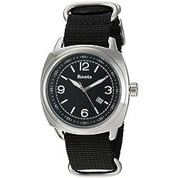 Roots Men's 'Core' Quartz Stainless Steel and Nylon Casual Watch, Color:Black (Model: 1R-PR100BA7B)