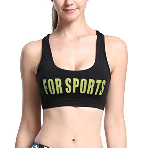 Zhhlinyuan Women Sexy Des sports Bra Running Yoga Fitness Stretch Workout Tank Tops Black