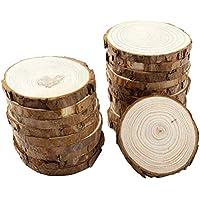 VORCOOL 10pcs Madera Natural Rodajas de Registro Madera Discos para DIY Artesanías Boda Tamaño 1