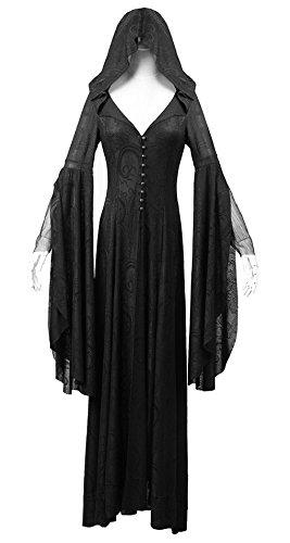 Abito elegante pretresse nera con motivo vintage, con cappuccio, maniche kimono gothiq elegante nero XL