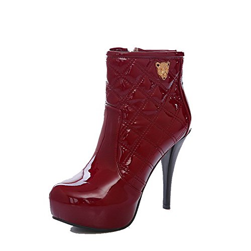 VogueZone009 Donna Cerniera Tacco Alto Bassa Altezza Stivali con Ornamento Di Metallo Chiaretto