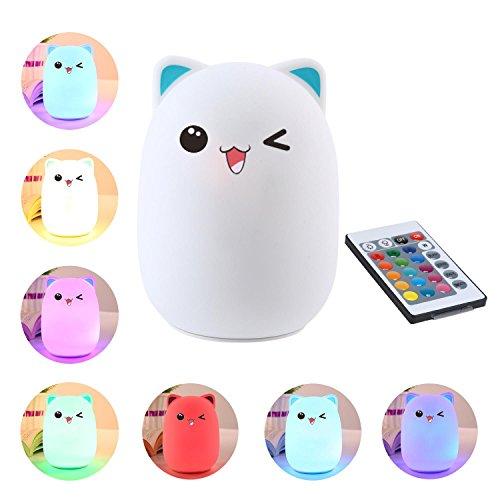 Silikon LED Nachtlicht Lampe mit USB Wiederaufladbare Fernbedienung 7 Farb Atem Modi für Erwachsene Baby Zimmer, Schlafzimmer, Bett, Kinderzimmer, Blau Bär (Süße Katze Gesichter Halloween)