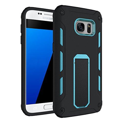 Galaxy A3(2017) Hülle mit Klappständer,EVERGREENBUYING Hybrid Schein SM-A320F Tasche Ultra-dünne Schutzhülle Case Cover mit Ständer Etui für Samsung GALAXY A3 (2017 Version Only) Grün Blau