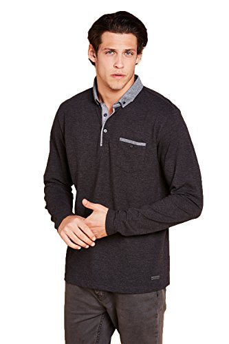 Mens Brave Soul Herad Long Sleeved Polo Shirt New Designer Button Collar Tee Top