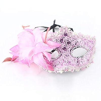 EBILUN Dame Sexy Elegante Augenmaske, Halloween Maskerade Vintage Gesichtsmaske mit Feder Blume Strass für Venezianische Maskerade Ball Prom Halloween Kostüm von EBILUN - Outdoor Shop