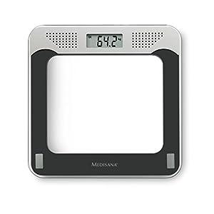 Medisana PS 425 sprechende digitale Personenwaage bis 180 kg – Körperwaage zur Messung des Gewichts -Badezimmerwaage mit Glasoberfläche und Sprachausgabe – 40448