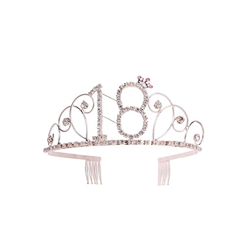 rtstag Tiara, Strass 18. Geburtstag Kronen Happy 180th Birthday (Rosy Gold) ()