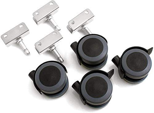 Design61 Universal Möbelrollen mit U-Aufnahme 16mm Gummirollen Lenkrollen Laufrollen Bodenschutz Rollen mit Feststeller Plattenschuhe mit Stift 4 Stück