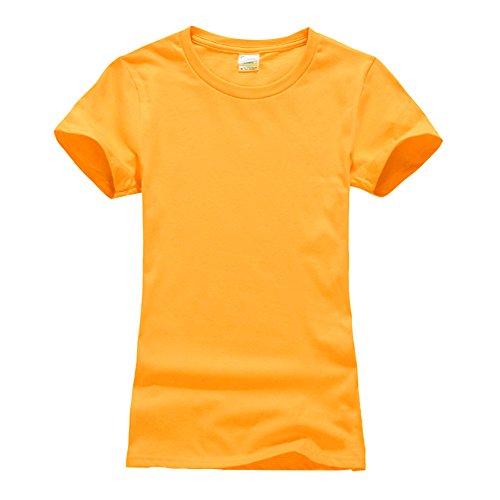 Femmes Couleur unie Courtes T-shirt -Top Décontracté Tee Shirt Or