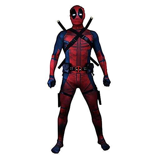 PIAOL Erwachsene Tod Anzug Kleidung Körper Strumpfhosen Gedruckt Halloween Maskerade (ohne Messer),Red-S