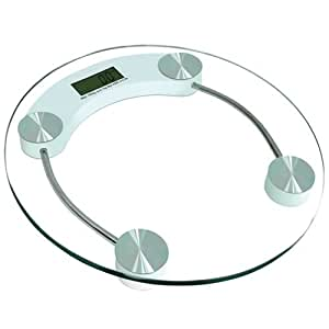 Jazooli Glass Digital LCD Bathroom Body Electronic Weighing Scales - Circular Clear