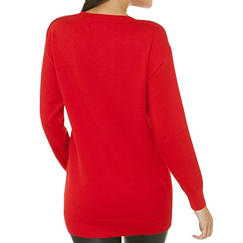 E-GIRL M302 Pull Tricot Femme,XS-L Rouge