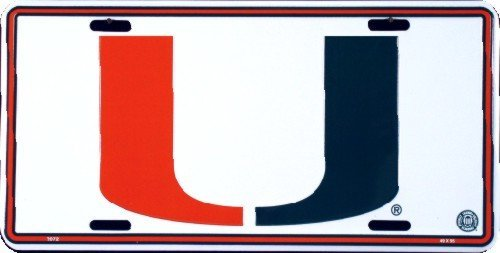 Miami Hurricanes Embossed White Metal License Plate by HANGTIME -