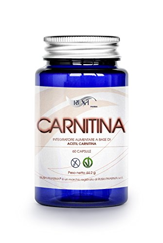 Acetil carnitina Rush | Brucia grassi | Carnitina pura, integratore dimagrante 1200mg (2 capsule die potenti e veloci=1 mese), per aumento massa muscolare, forza e definizione muscoli | Antiossidante