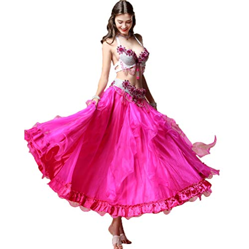 Wangmei Professioneller Halfter Bauchtanz Kostüm Für Frauen Toller Swing Rock Blumen-BH mit Strass Bauch Performance Kleid, XL