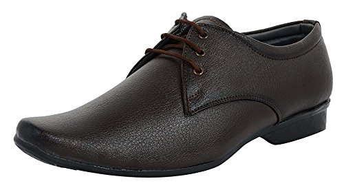 Charan Collections Men's Brown Derby Shoes - 8 UK