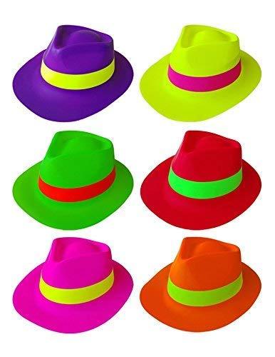 Girm® - kit 12 cappelli fluo per party, eventi e feste a tema. vari colori assortiti