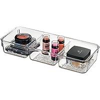 mDesign Vassoio Organizzatore Cosmetici per Armadietto per Tenere Trucco, Prodotti di Bellezza - 3 Scomparti, Trasparente