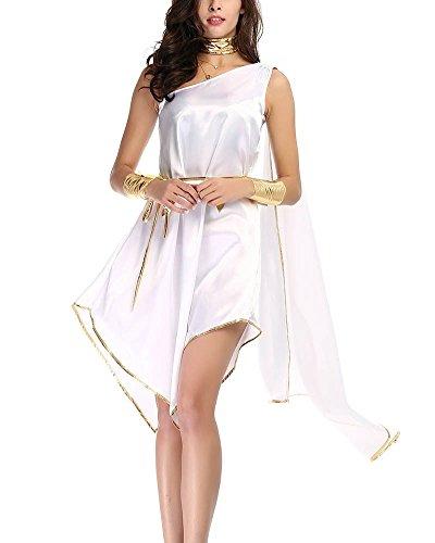 Gladiolus Griechische Göttin Kostüm, Damen Kleider Göttin Kostüm Für Karneval Halloween Fasching Weiß Eine Größe (Göttinnen Griechisches Kleid)