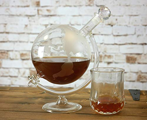 Homezone® Large Vintage Glass World Globe Whisky Decanter Wine Carafe On Cradle. 700ml Hand Blown Etched Glass Drinks Decanter, Perfect Christmas Gift For Him/Her.