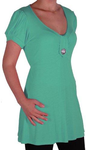 EyeCatch - Tunique manches courtes col en V - Sierra - Femme - Grandes Tailles Aqua vert